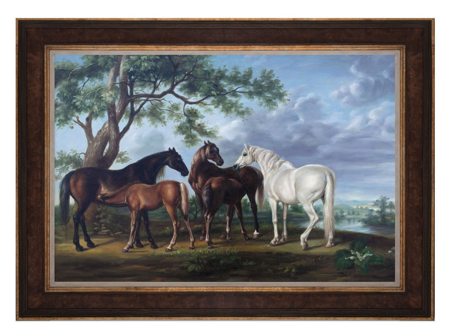 Oil Painting after 'Mares and Foals in a River Landscape' by George Stubbs
