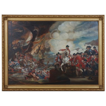 Oil Painting after The Defeat of the Floating Batteries at Gibraltar by John Singleton Copley