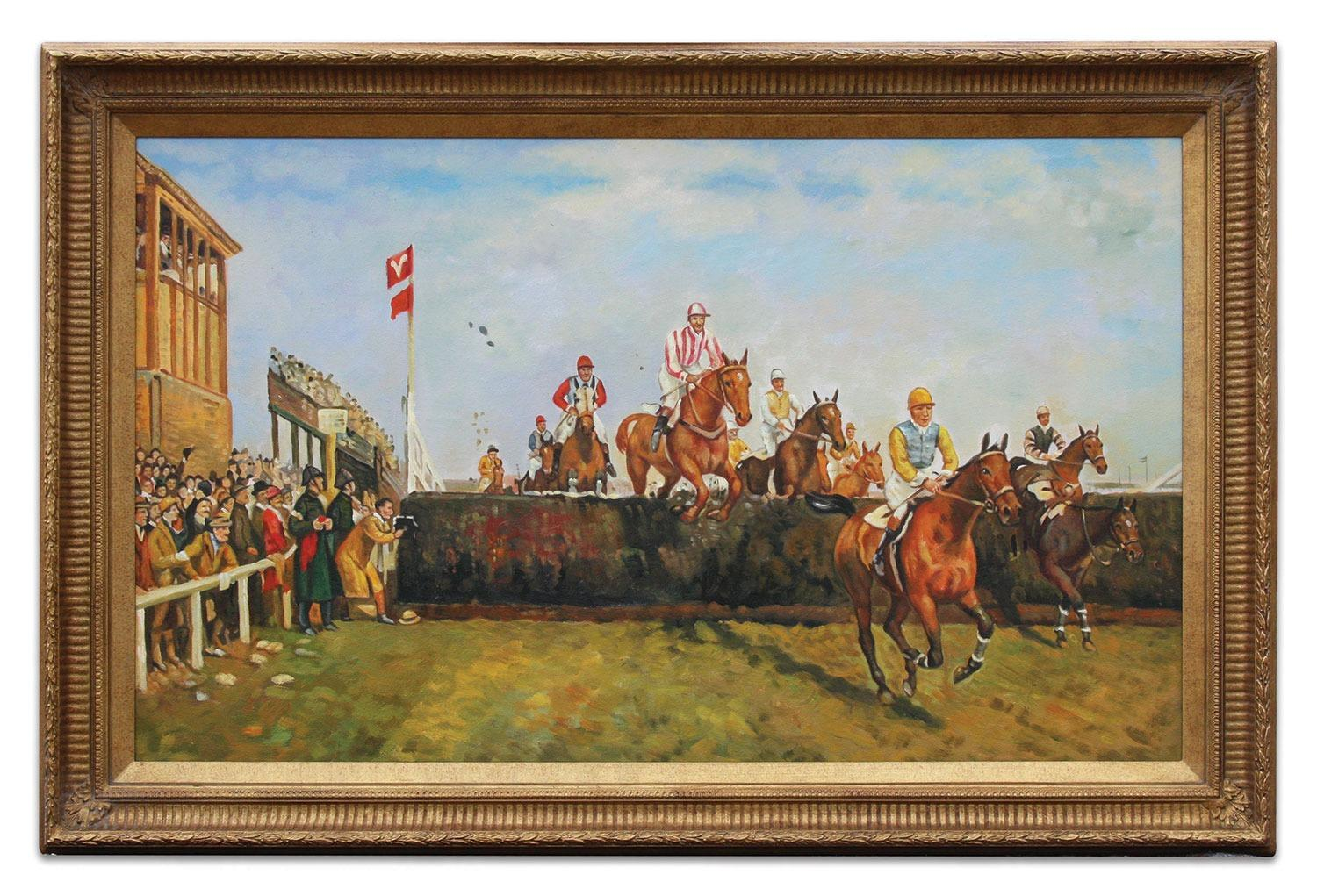 Oil Painting after 'The Grand National Steeplechase: Valentine's Jump' by John Sanderson Wells