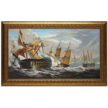 Oil Painting after 'The Guillaume Tell in action with HMS Penelope' by John Christian Schetky