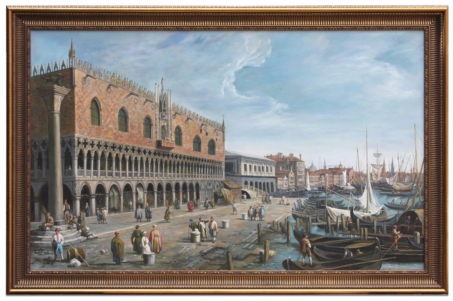 Oil Painting after 'Venice: The Doge's Palace and the Riva deli Schiavoni' by Canaletto