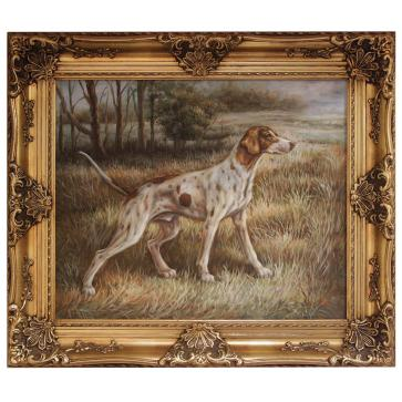 Oil painting of a Pointer dog