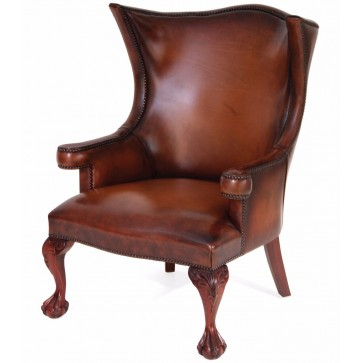 Okeford leather wing chair in hand dyed hide