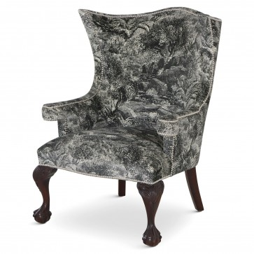 Okeford wing chair in Linwood Island Paradise Noir