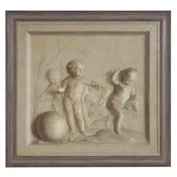 Original 19th century stone relief oil painting