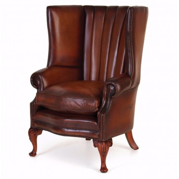 Osbourne Fluted Leather Wing Chair
