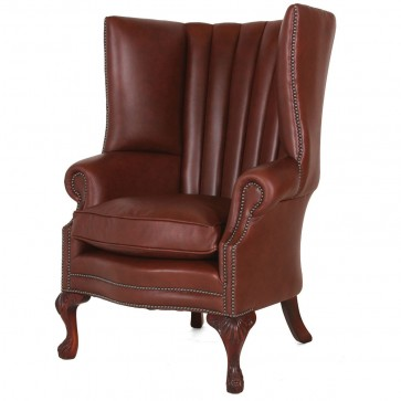 Osbourne Fluted mahogany leather wing chair