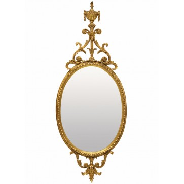 Oval urn water gilded mirror