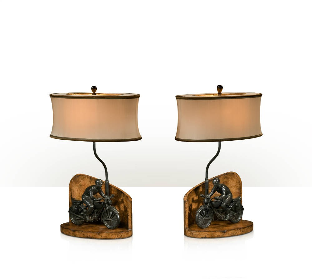 Pair of 1930s Style Motorcycle Table Lamps