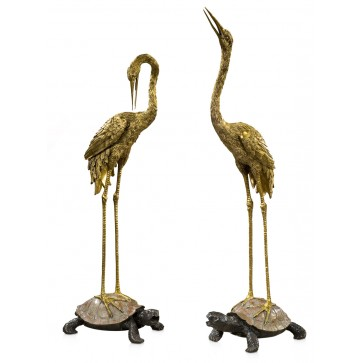 Pair of brass of crane and turtle