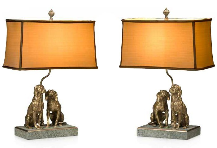 pair of finely cast brass table lamps
