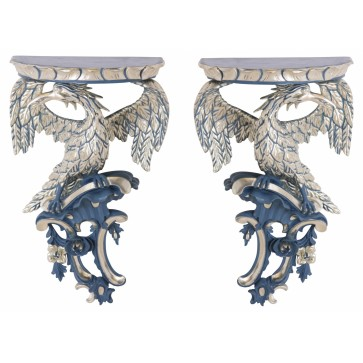 Pair of hand carved white gold wall brackets