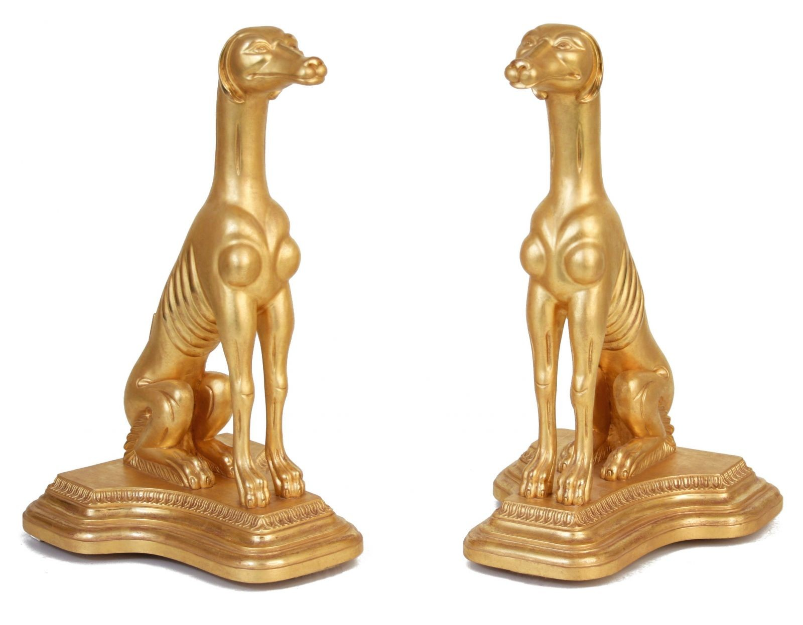 Pair of Water Gilded lifesize dogs