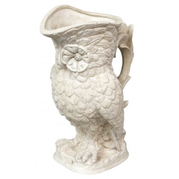 Parian Ware White Cramic Owl Jug