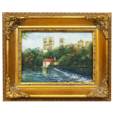 Paris river scene, framed oil painting
