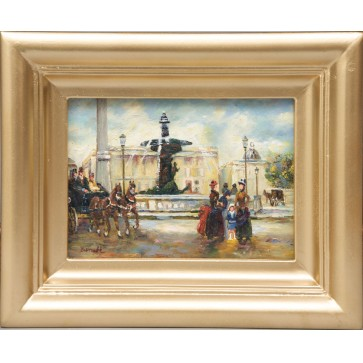 Paris Scene, framed oil painting