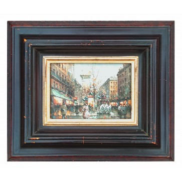 Paris street scene, framed oil painting