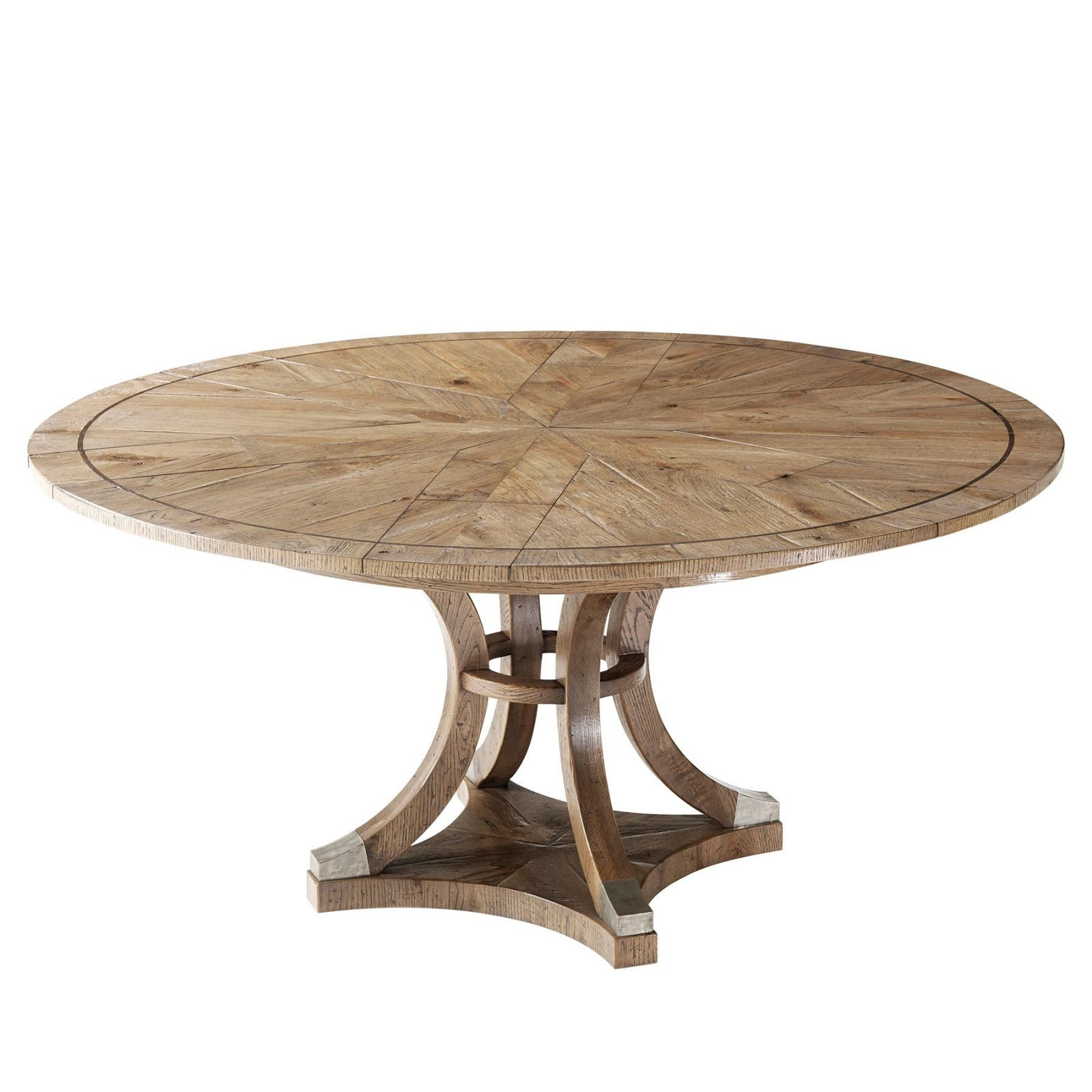 Parquetry oak Jupe's style expanding round dining table