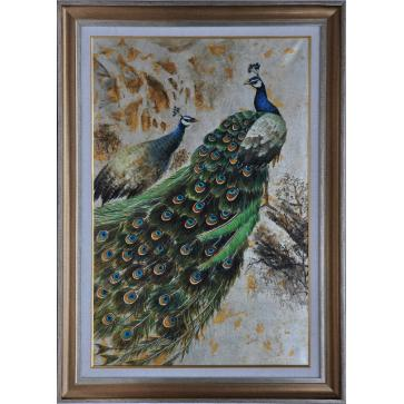 Peacock and peahen, framed original oil painting