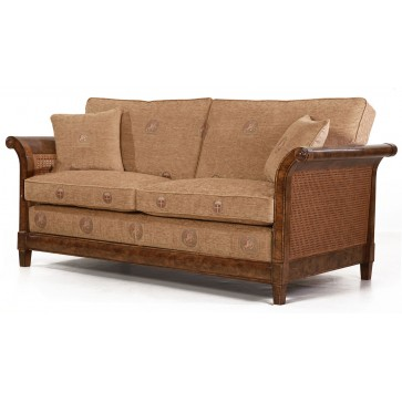 Phillips burr oak Sofa in pale gold chenille