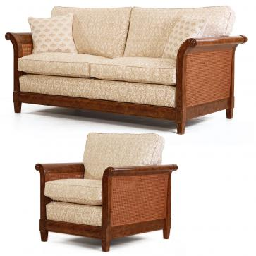 Phillips burr oak suite - Sofa + Chair in gold weave fabric