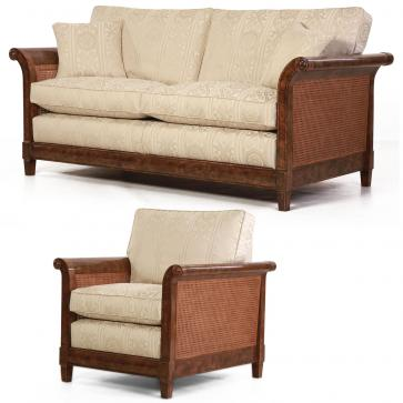 Phillips burr oak suite - Sofa + Chair in Linwood damask