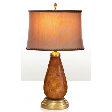 Pollard burl and brass table lamp