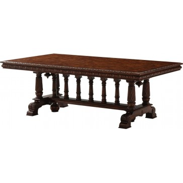 Poplar burl extending table - Over 17ft