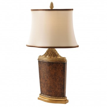 Poplar burl mosaic inlaid table lamp