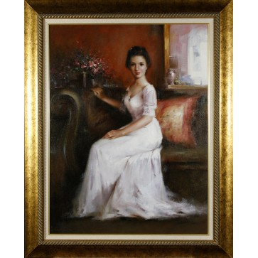 Portrait of a lady, framed oil painting