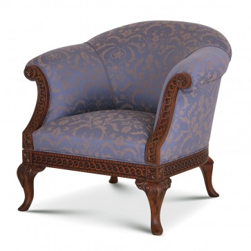 Pride Regency style chair in blue Pleasley Damask