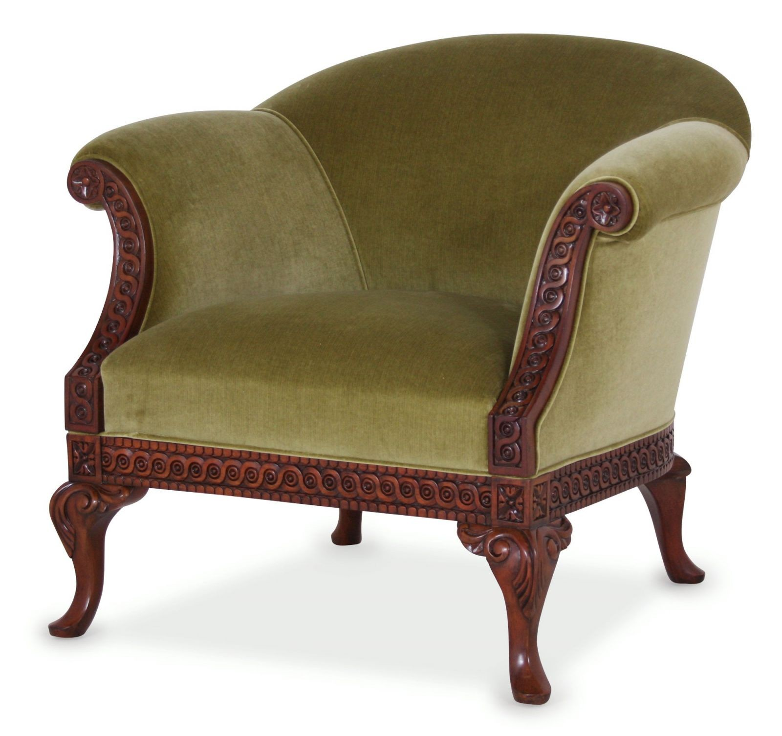 Pride Regency Style Chair In Riffle Vintage Velvet Fabric