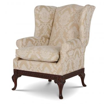 Pride Regency style wing chair in Cream chenille damask