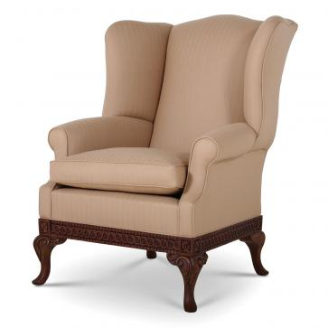 Pride Regency style wing chair in Herringbone Vienne wool