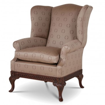 Pride Regency style wing chair in Viyella Laurel