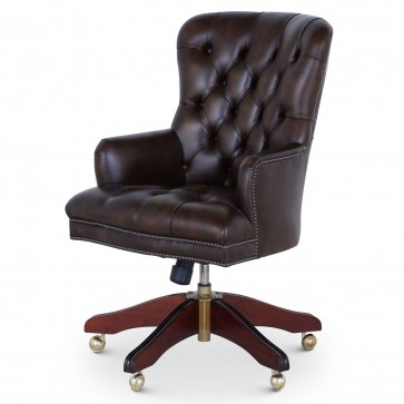 Queen Anne swivel leather desk chair - Autumn Gold