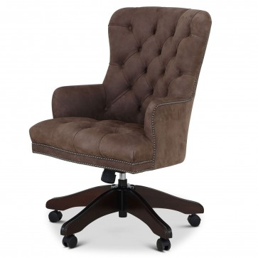 Queen Anne swivel leather desk chair - Taupe