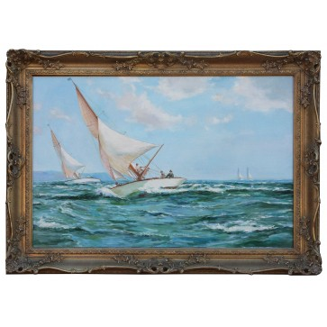 Racing In The Solent framed oil painting