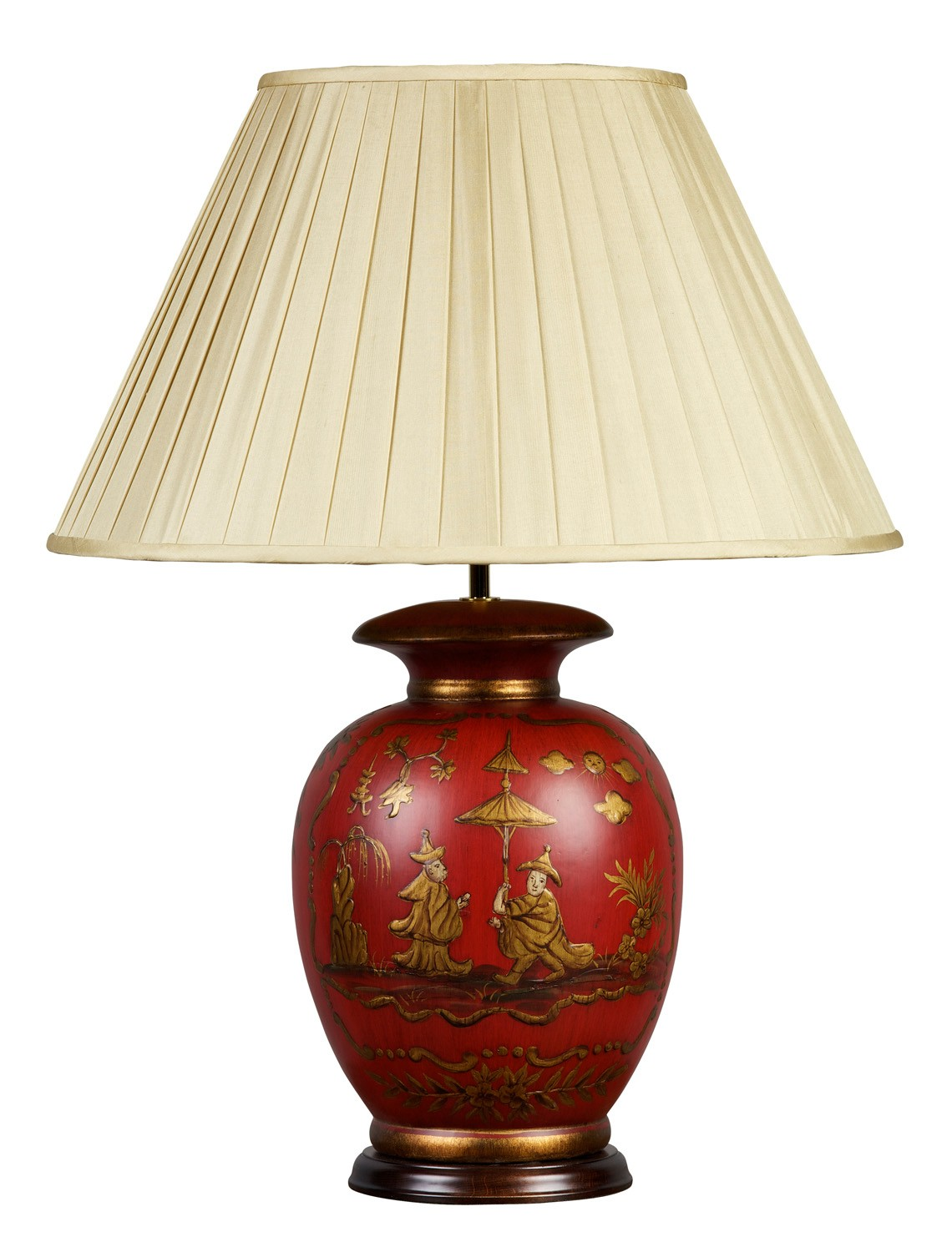 Red And Gold Chinoiserie Lamp And Shade Table Lamps From
