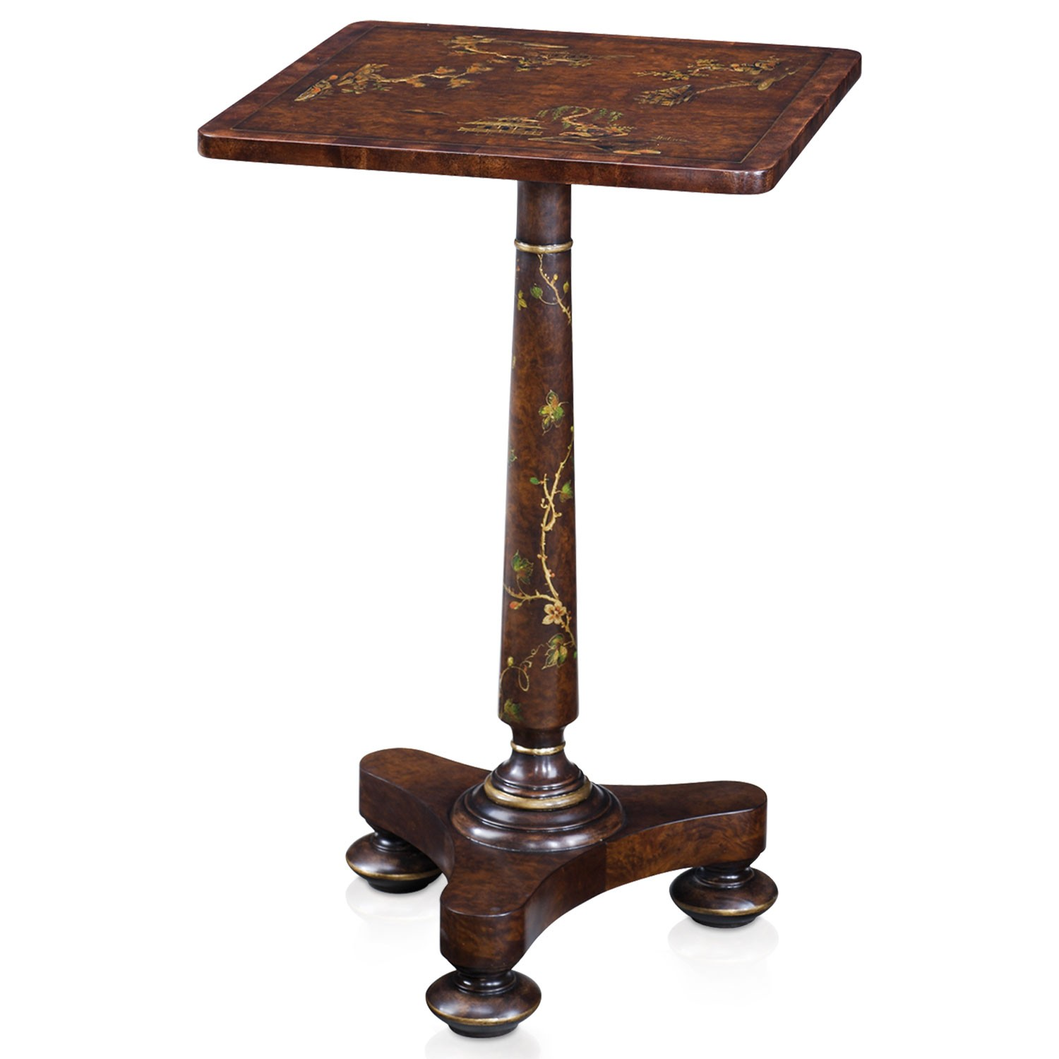 Regency style burl and chocolate Chinoiserie painted lamp table