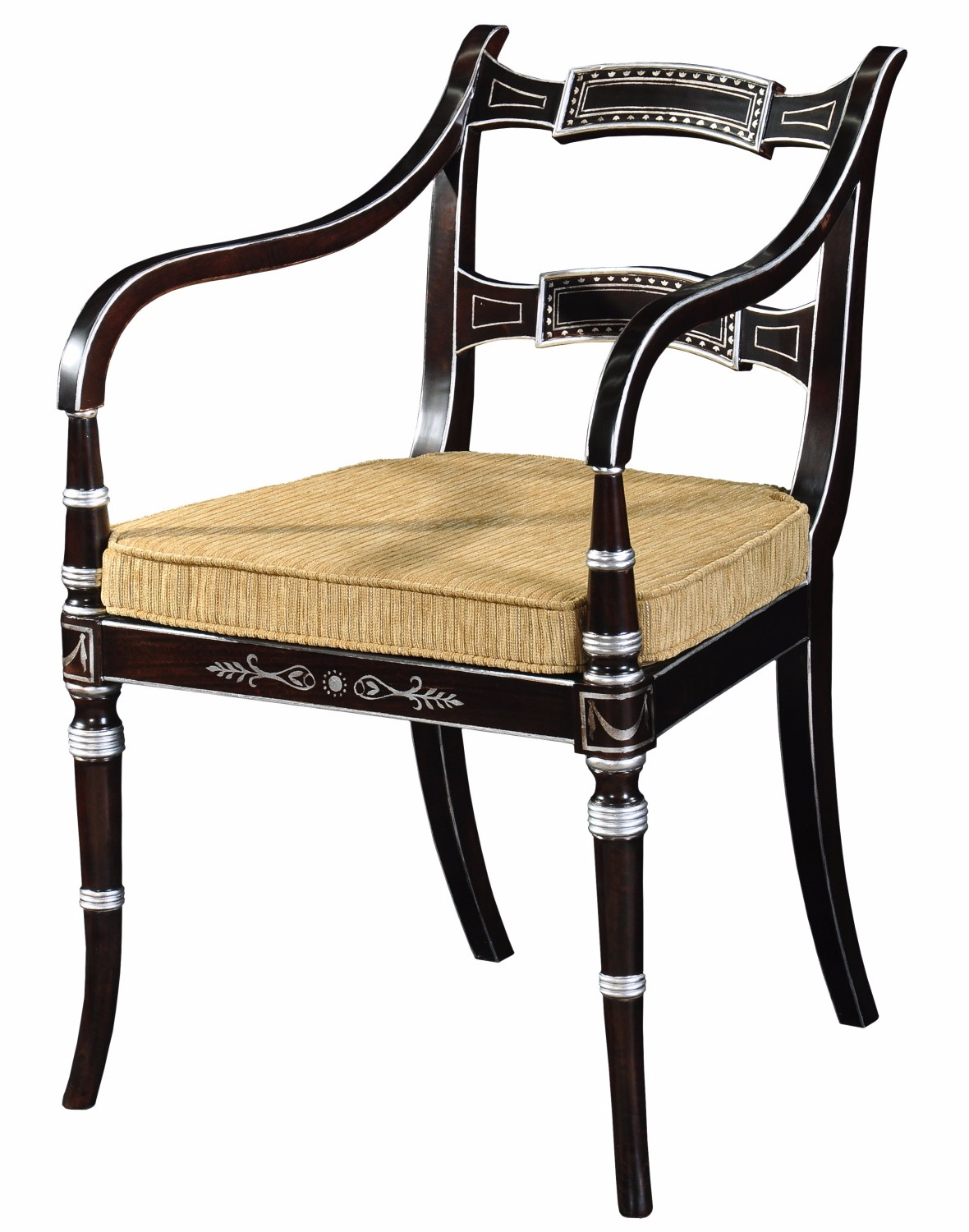 Charming Regency Style Ebonised And Silver Gilt Chair