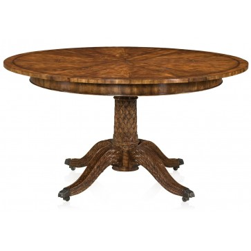 Regency style hand carved mahogany extending round dining table  - Ex demonstrator
