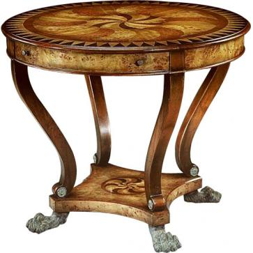 Regency style marquetry inlaid center table