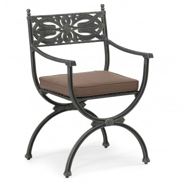 Reptonian antiqued metal Outdoor dining arm chair with standard fabric seat cushion