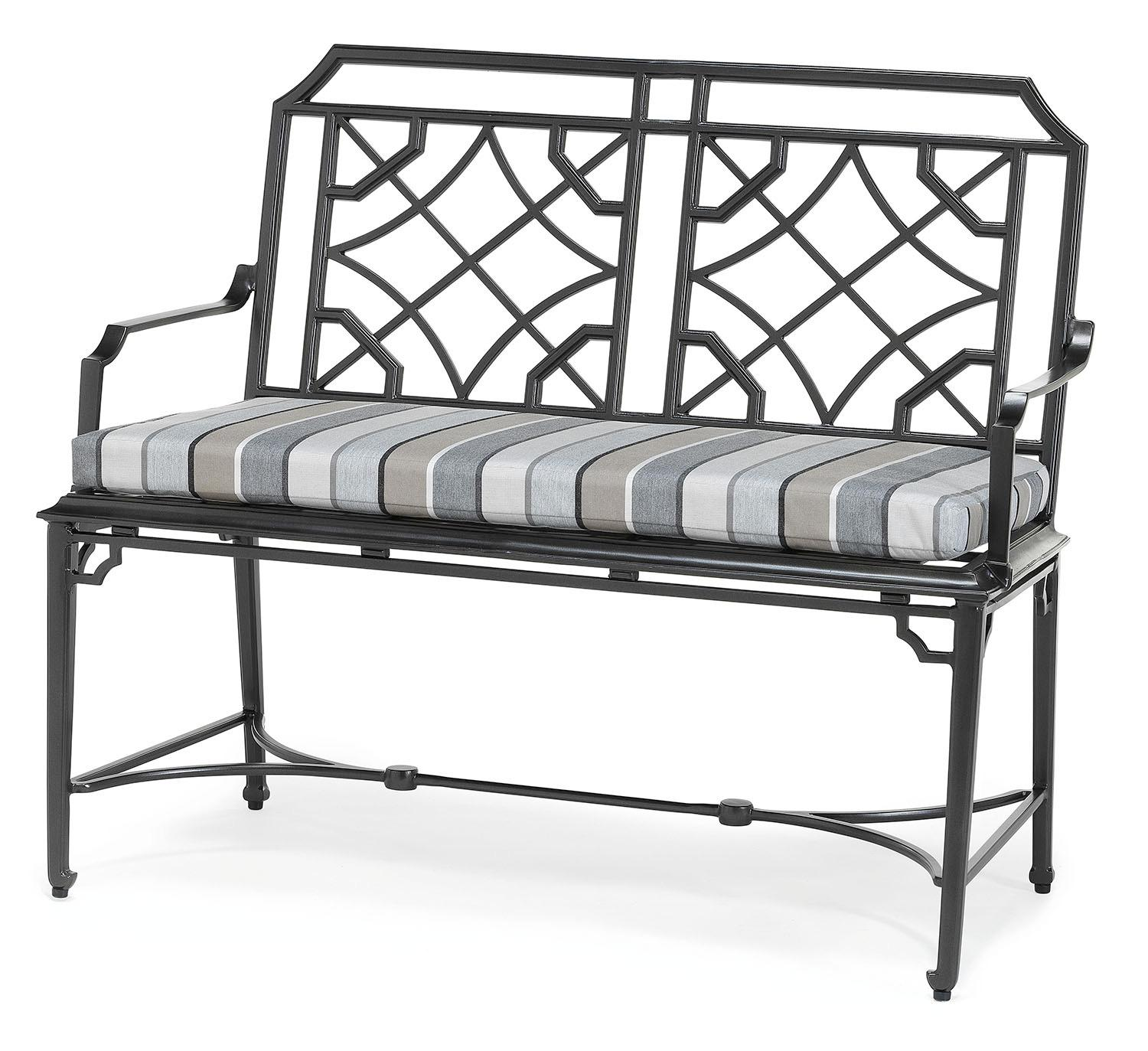 Rissington metal garden bench with seat cushion