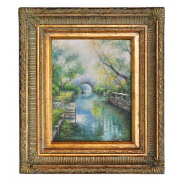 River punting by gardens, framed oil painting