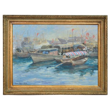 River scene at Canton, framed oil painting