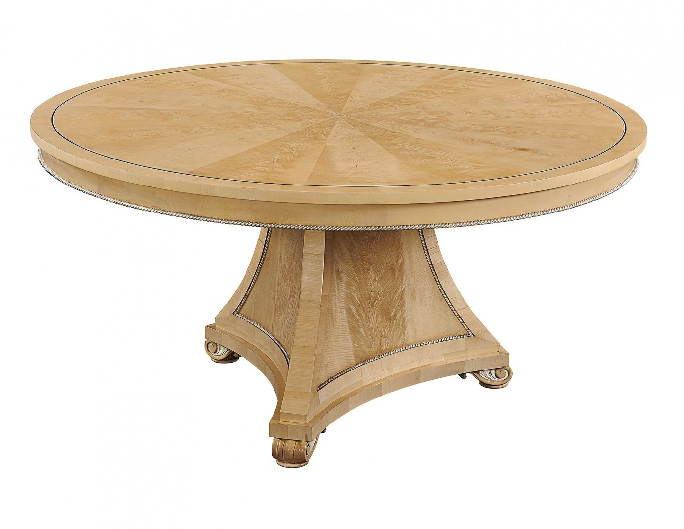 Robert Adam style crotch sycamore round dining table - 5ft