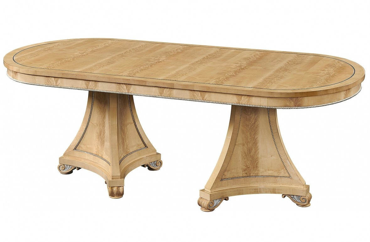 Robert Adam style twin pedestal crotch sycamore dining table