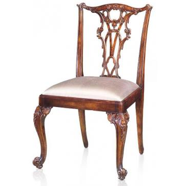 Rococo style splat-back chair with cabriole legs and silk seat
